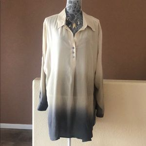 NWT Soft Surroundings Silk Henley Ombre Tunic